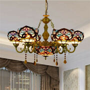 Victorian Style Large Chandelier Stained Glass 7-light Crystal Ceiling Light