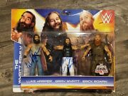 Wyatt Family Signed Wwe Mattel Kmart Action Figure 3 Pack Autographed Brodie Lee