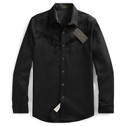 Rrl Western Limited Edition Black Shirt Suede Snap Wool Large L