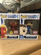 Human Torch 572 Mister Fantastic 571 Funko Pop Marvel Collector Corps Exclusive