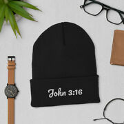 John 316 Christian Bible Verse Embroidered Beanie Winter Hat Menand039s Womenand039s