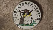 Vintage Jumbo Dial Owl Outdoor Thermometer Garden Yard Decor Made In U.s.a.