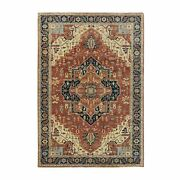 6and0391x9and0392 Hand Knotted Rust Red Antiqued Heris Recreation Wool Rug G58984