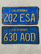 1970and039s California Automobile License Plates Vintage Blue And Gold Color Lot Of 2