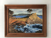 Large Antique Oil On Board Painting The Lone Cypress Signed Pap Pebble Beach