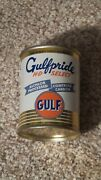 Vintage 1960and039s Gulf Pride Coin Bank 3 Metal Oil Can Gas Sign Nice One