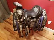Mexican Charro Western Saddle And Breastplate Embroidered Rich Metal Decoration