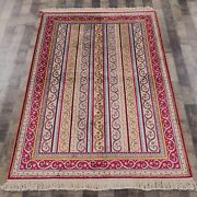 Yilong 4and039x6and039 Handknotted Silk Carpet Striped Home Indoor Eco Friendly Rug L34b