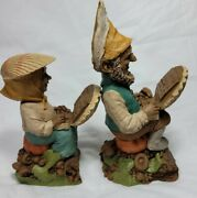 2 Tom Clark Gnomes Laptop And Dot Com-r 1998 Figurines Clamshell Technology Wolfe