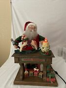 Holiday Creations Animated Musical Santa Claus Toy Workshop Christmas