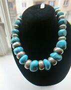 Vintage Sterling Silver Turquoise Beaded Necklace 254 Gram One Of A Kind