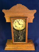 Antique Wm. L. Gilbert 205 Kitchen Shelf Clock 8 Day Chime Working Winsted Conn