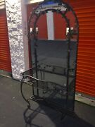 Vintage Hair Stylist Station Mirrored With Motif Wrought Iron And Two Lights