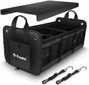 Heavy Duty Collapsible Car Trunk Cargo Storage Organizer W/3-compartments And Lid.