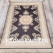 Yilong 4and039x6and039 Handmade Silk Rug Black Home Decor Floral Oriental Carpet L31b