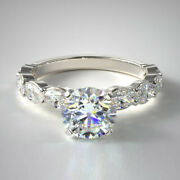 Solide 14k Or Blanc Bande 1.40 Carat Real Diamond Engagement Ring Taille L M N P