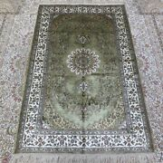 Yilong 3and039x5and039 Antique Traditional Handwoven Silk Rug Home Indoor Carpet 221b