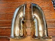 Vintage Pair Of Heavily Cast Polished Bronze Side Mount 1/2 Cowl 10 1/2 Vents