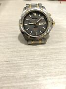 Seiko 5m43-0c00 Day Date Titanium Kinetic Mens Watch Working Good. Used