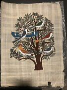 Vintage Adel Ghabour Egyptian Papyrus Tree Of Life Birds Old Hieroglyphic