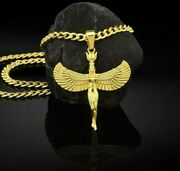 Isis Winged Egyptian Goddess Men Women 14k 18k Solid Gold Pendant Gift Birthday