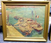 Oil Painting Of Van Goghand039s Rhone Barges Done In 1950and039s By Kunst Im Druck Germany