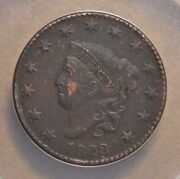 1823/2 Coronet Head Large Cent N-1 Anacs Ef 45 Details