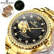 Menand039s Automatic Mechanical Gold Black Dial Skeleton Stainless Steel Wrist Watch