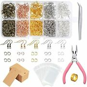 1328 Pieces Earring Making Supplies Kit With Hooks Jump Rings Cards Holder