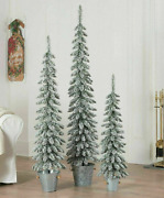 Holiday Time Set Of 3 Flocked Pine Trees In Galvanized Pots, Christmas Decor