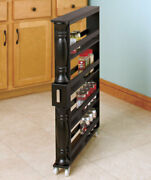 Wooden Can Organizer And Spice Rack - Slim Rolling Kitchen Cart
