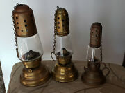 1860's Patented 3 Skaters Kerosene Lanterns With Chains