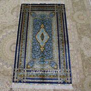 Yilong 3and039x5and039 Blue Rose Handknotted Silk Carpet Indoor Porch Area Rug Z309a
