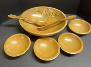 Woodcroftery Salad Bowl Utensils And 4 Individual Bowls Painted Pinecones Made In