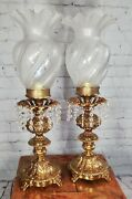2 Vtg L And L Wmc Pair Hollywood Brass Table Lamps Hand Blown Bubble Glass Shades