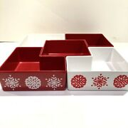 Vintage Snowflake Red And White Plastic Divided Candy, Fruit, Vegetable Dishes