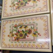Vintage Lavada Tv Trays Set Of 4 With Stand Floral Stitch Pattern Design Mcm