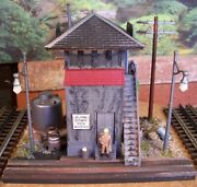O Scale Custom Weathered Built Diorama Switch Tower Scrap Yard W/lionel Canister