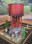 O Scale Custom Weathered Built Detailed Diorama Red Water Tank Tower Assembled