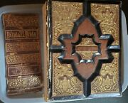 Antique 1886 Parallel Family Bible Pictorial Leather No Writing Has Cover Damage