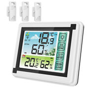 Indoor Outdoor Thermometer Lcd Digital Hygrometer Humidity Monitor With 3 Sensor