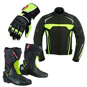 Mens Motorcycle Racing Jacket Real Leather Gloves High Ankle Riding Boots Armour