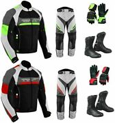2piece Motorbike Motorcycle Riding Suit Jacket Trousers Waterproof Boots Gloves