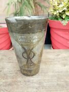Collectible Old Rare Brass Hand Carved Dotted Design Lassi Milk Glass Cup Vase
