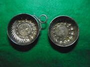 Set Of 2 Silver Brandy Wine Taster Ring Handle W Coin Center Dated 1484 And 1648