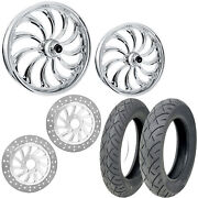 Rc Calypso Chrome 21/18 Front Rear Wheel Package Set Tires Rotors Harley Touring