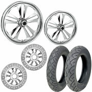Rc Crank Chrome 21/18 Front Rear Wheel Package Set Tires Rotors Harley Touring