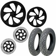 Rc Drifter Black 21/18 Front Rear Wheel Package Set Tires Rotors Harley Flh/t