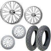 Rc Dynasty Chrome 21/18 Front Rear Wheel Package Set Tires Rotors Harley Flh/t