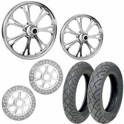 Rc Epic Chrome 21/18 Front Rear Wheel Package Set Tires Rotors Harley Flh/t